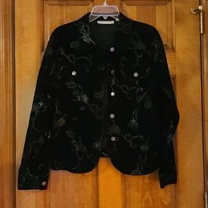 Velvety black button up top or jacket